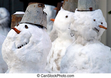 Funny snowmen - Snowballs-traditional a winter entertainment