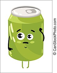 Funny soda can isolated cartoon character