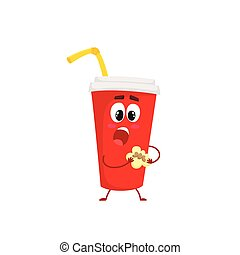 Funny soft drink paper cup character eating a cookie