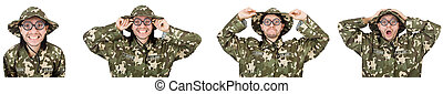 Funny soldier isolated on white