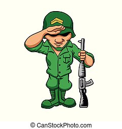 Funny soldier with rifle