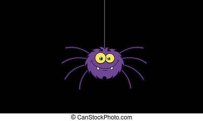 Funny Spider Cartoon Character. 4K Animation Video Motion ...