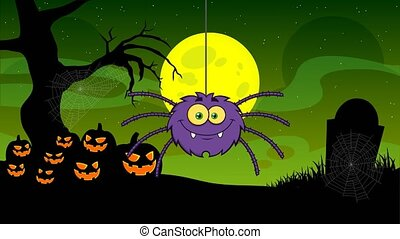 Funny Spider Cartoon Character With Halloween Background - ...