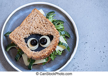 Funny spider sandwich for Halloween party