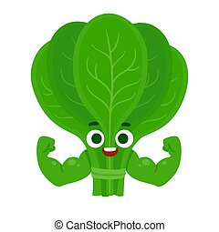 Funny spinach character - Cute cartoon spinach character...