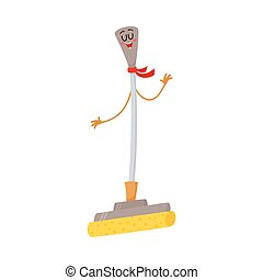 Funny sponge mop character with smiling human face, cleaning tool