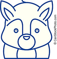 Funny squirrel line icon concept. Funny squirrel flat vector symbol, sign, outline illustration.