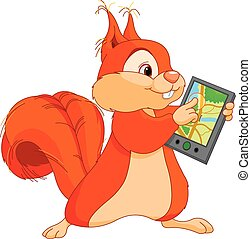 Illustration of funny squirrel touching navigator
