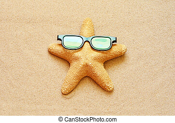 Funny starfish on the summer beach with sand