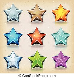 Funny Stars Icons For Game Ui - Illustration of a set of...