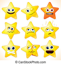 Funny Stars - Smiley cartoon stars, clip art with various...
