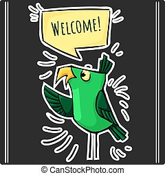 Funny sticker green cartoon bird with sign welcome