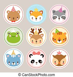 Funny stickers with animals to birthday.
