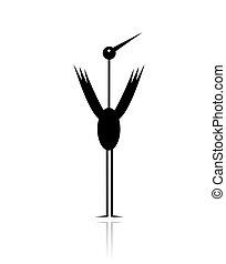 Funny stork black silhouette for your design