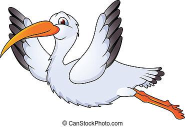 funny stork fly