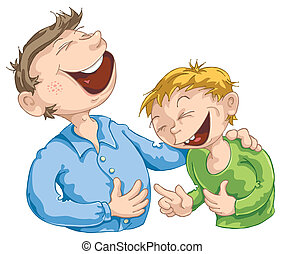 Funny Story - Father told a funny story to his son.