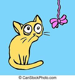 funny strange cartoon cat sitting and looking vector illustration