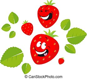 Funny Strawberry Cartoon Smiling - Vector Flat Design Illustration
