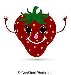 Funny strawberry with a face. Vector illustration.