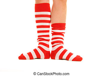funny striped socks - funny striped red socks isolated on...
