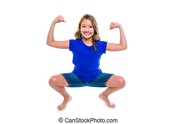 funny strong expression kid girl hands gesture