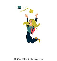 Funny student girl jumping from happiness