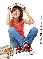 Funny student girl with books