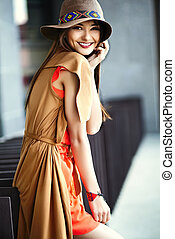 Funny stylish sexy smiling beautiful young hippy woman model...