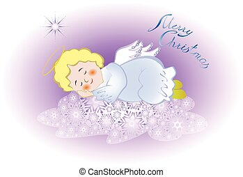 Funny stylized decorative sleeping angel in the sky on a cloud of snowflakes and star. EPS10 vector illustration