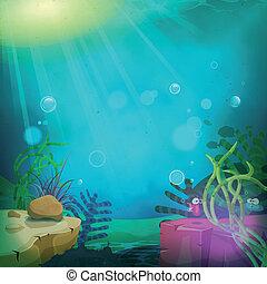 Funny Submarine Ocean Landscape - Illustration of a cartoon...