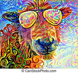 Funny Summer Sheep Portrait Painting