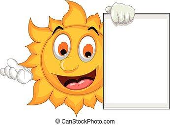 funny sun cartoon with blank sign