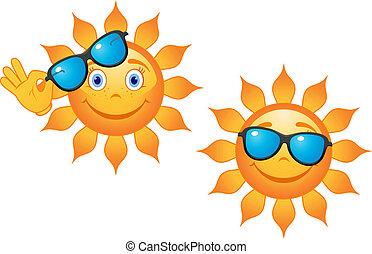 Funny sun in sunglasses