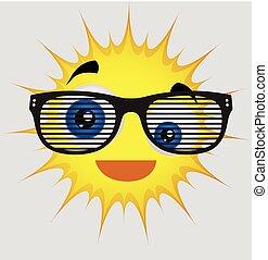 Funny Sun Smiley with Retro Glasses