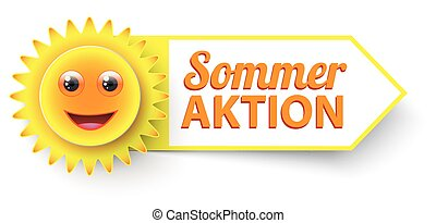 """Funny Sun Sommer Aktion - German text """"Sommer Aktion"""",..."""