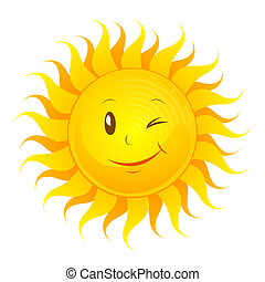 Funny sun - Vector illustration of a laughing sun