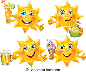 Funny sun with cool drinks and desserts. Contains...