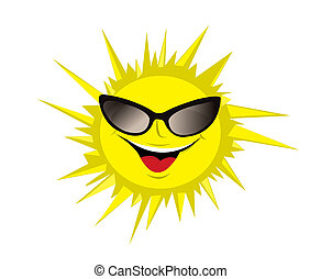 Funny sun with sunglass