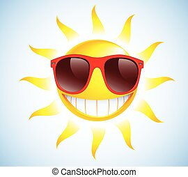 Funny sun with sunglasses. Vector illustration background