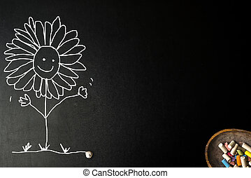 Funny sunflowers chalk drawing card.