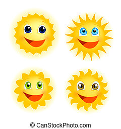 Funny sunshine - Vector illustration of different isolated ...