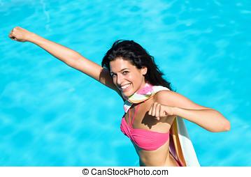Funny super girl on summer vacation
