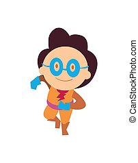 Funny super kid character in flat design
