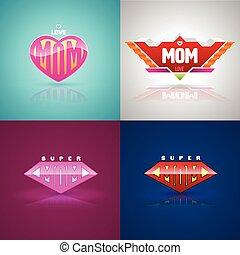 Funny super mom logo set.