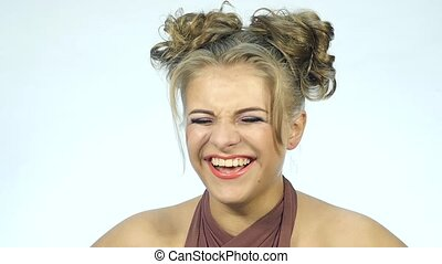 funny surprised blondie woman being laughing. Concept of happy emotions. slow motion