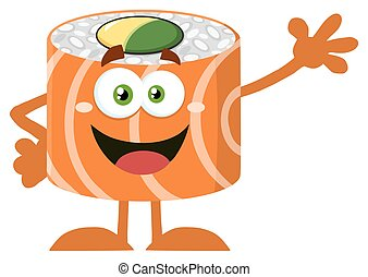 Funny Sushi Roll Character Waving - Funny Sushi Roll Cartoon...