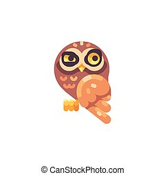 Funny suspicious little brown owl flat icon