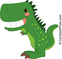 Funny green cartoon T-rex dinosaur toy showing teeth