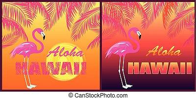 Funny T shirt prints with Aloha Hawaii lettering, flamingo,...