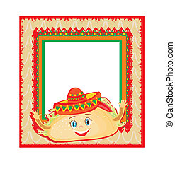 funny Tacos Character , Mexican frame card